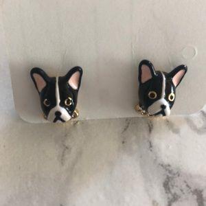 Kate Spade French Bulldog stud earrings